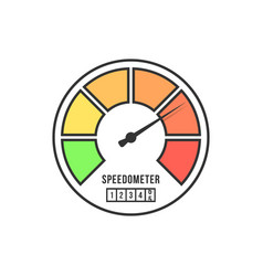 speedometer icon from black line vector image