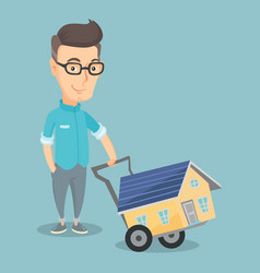 Adult smiling man buying house vector