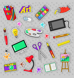 art creativity badges stickers patches vector image vector image