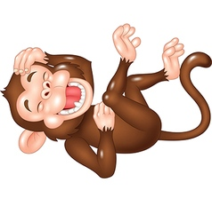 Cute monkey laughing isolated on white background vector image vector image