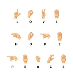Love hope and peace words on hand language vector image vector image