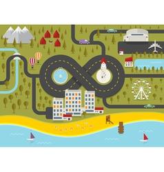 Map of resort town vector