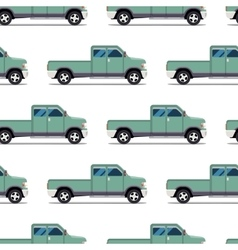 seamless pattern of green pickup truck vector image