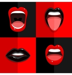 Set of mouth with open lips vector