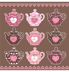 Set of vintage teapots vector image vector image