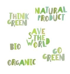 Think green Natural product save the world bio vector image