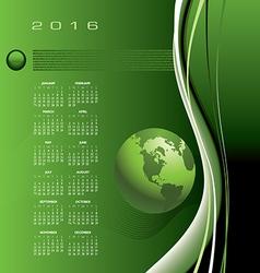2016 calendar globe binary vector image vector image