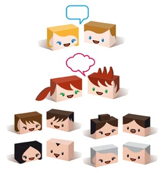 3D avatar heads vector image vector image