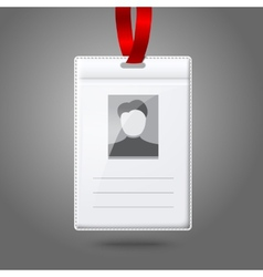 Blank vertical badge holder with place for photo vector