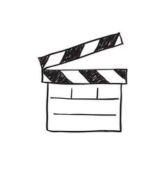 movie clapper board sketch vector image vector image