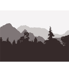 Panoramic view of the forest and mountains vector image