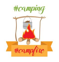 Pot on bonfire camping theme vector
