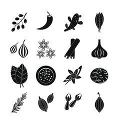 spice icons set simple style vector image