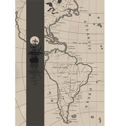 The old sea charts and a sailing ship vector image