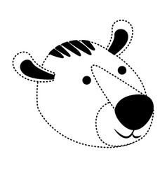 tiger cartoon head in black dotted silhouette vector image