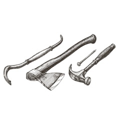 Tools logo design template hammer and nail vector