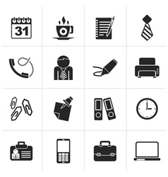 Black Business and office icons vector image