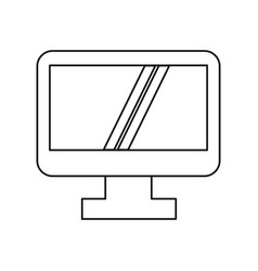 computer screen device technology thin line vector image