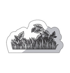 Grayscale contour sticker of field grass and vector