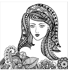 Hand drawn zentangle feather on white background vector
