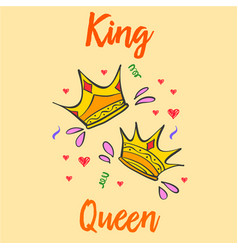 King and queen crown style collection vector