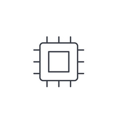 processor motherboard chip thin line icon vector image vector image