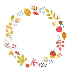 Round floral frame vector image