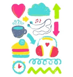 Sketch cute different elements vector image vector image