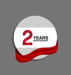 2 years anniversary design in circle red ribbon vector