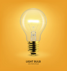 3d realistic golden turning on light bulb vector image