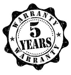5 years warranty grunge rubber stamp vector