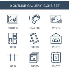 9 gallery icons vector