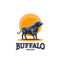 a muscular bull on the orange background vector image