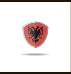 Albanian flag flat shield badge vector