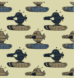 angry robot tank seamless pattern vector image