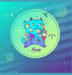 Astrology aries zodiac sign funny cat vector