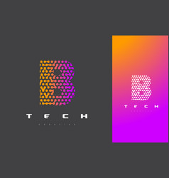b letter logo technology connected dots letter vector image