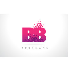 Bb b b letter logo with pink purple color and vector