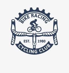 bike racing cycling club vintage logo template vector image