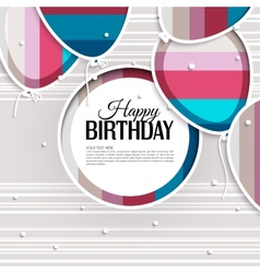 Birthday card with balloons and text vector