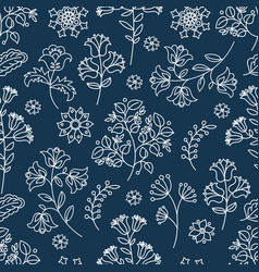 Blue ornament decorative folk ornament fabric vector
