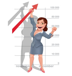 Businesswoman rejoices at her success vector image