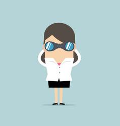 businesswoman with binoculars vector image