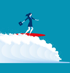 Businesswomen surfing vector