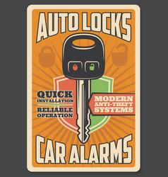 car alarm security auto lock key vector image