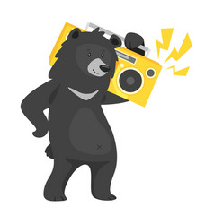 Cartoon black cool bear vector