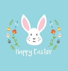 Cartoon easter greeting card with white rabbit vector