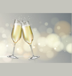 Champagne glass on holiday silver background vector
