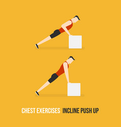 Chest exercises incline push up vector