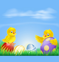 chickens and easter eggs background vector image